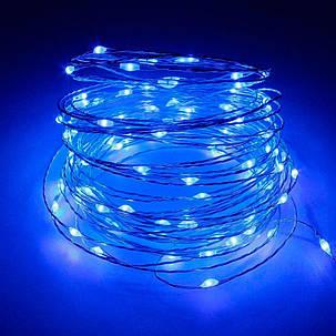 """Новогодняя гирлянда нить """"Роса"""" Xmas на батарейках синего свечения (прозрачный провод, 5 метров), фото 2"""