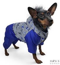 Комбінезон світловидбив 39 см (об'єм до 54см) зимовий розм 8 синій  для собак