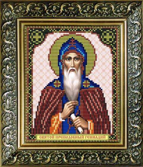 """Рисунок на ткани для вышивания бисером """"Св.Преподобный Геннадий"""""""
