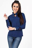 Блуза синяя с вырезом капля на груди 43