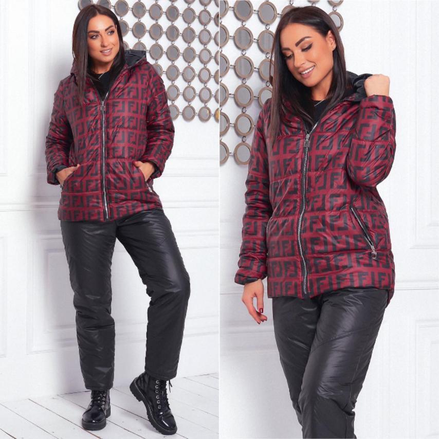 Женский костюм (куртка+брюки).  Размеры:48-50. Ткань: куртка - плащевка (lake) стёганная.