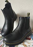 Женские ботинки челси Dr. Martens большого размера, демисезонные из натуральной кожи чёрного цвета Chelsea