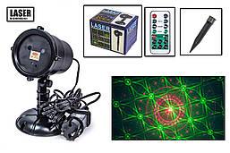 Лазерний проектор X-Laser для вулиці і вдома новорічний 2 кольори водонепроникний Червоний і зелений