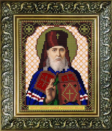 """Рисунок на ткани для вышивания бисером """"Св.Равноапостольный Архиепископ Николай"""", фото 2"""