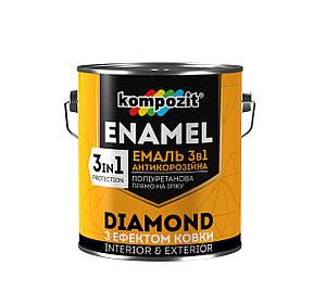 Емаль акрил. 3в1 коричневий 0,65 л DIAMOND Kompozit