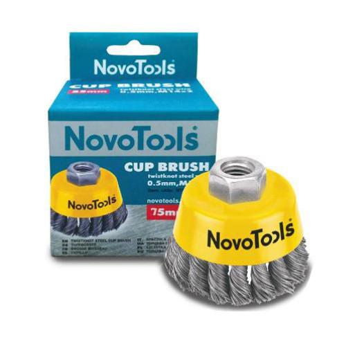 Щетка торцевая NovoTools, плет. сталь, 75мм