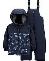 Зимовий дитячий комплект - куртка і напівкомбінезон з динозавриками ОшКош для хлопчика, фото 1