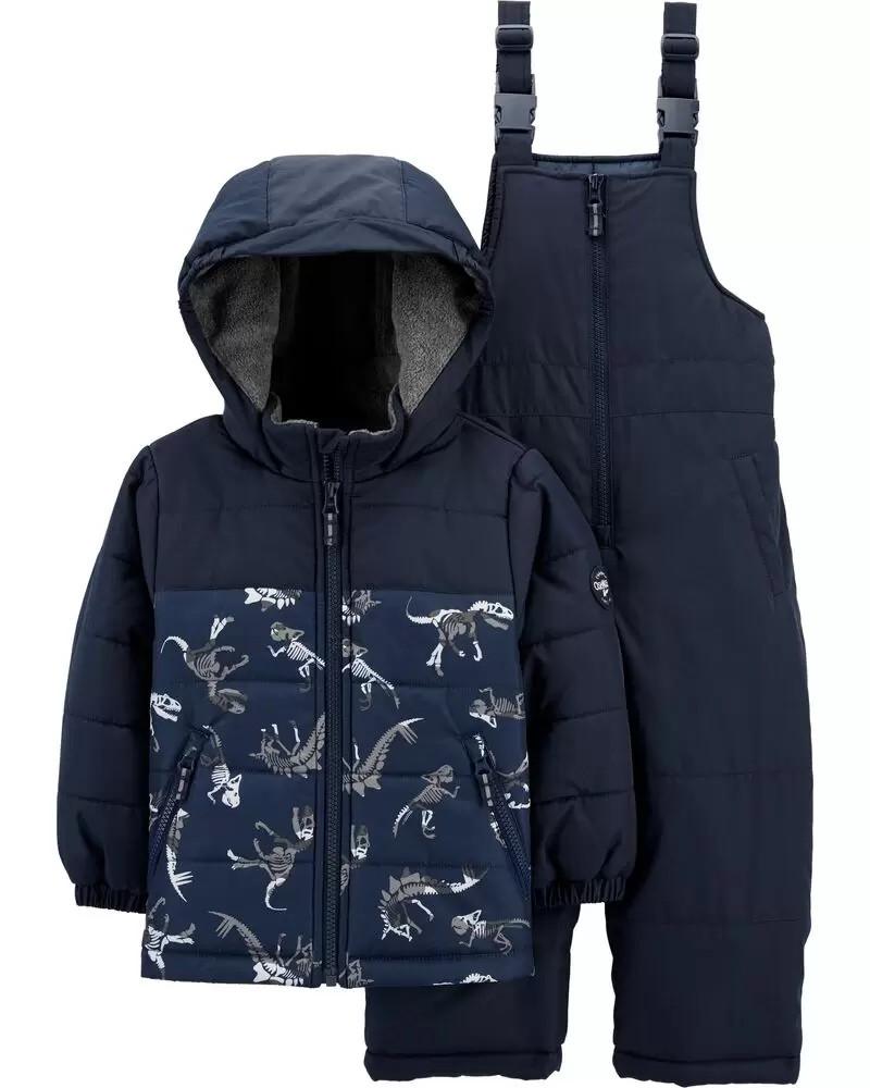 Зимовий дитячий комплект - куртка і напівкомбінезон з динозавриками ОшКош для хлопчика