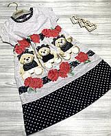 Платье для девочки Bears серое 3846, фото 1