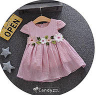 Платье детское летнее розовое с цветочками 7879, фото 1