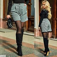 Короткие женские шорты с высокой талией больших размеров 50-60 арт 733