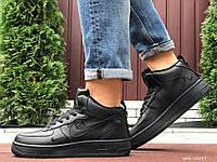 Мужские кожаные зимние кроссовки Nike Air Force чёрные, фото 1