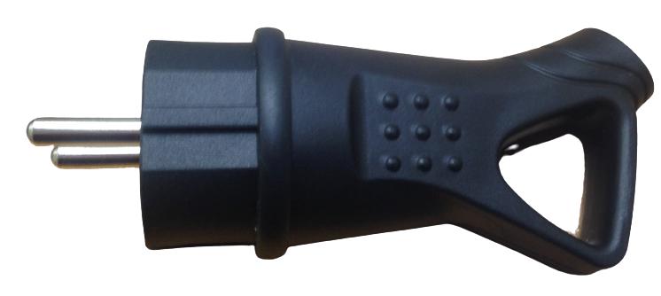 Вилка каучуковая с заземленням углова з кольцом чорна (17890)