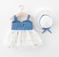 Комплект платье+шляпка белый 4056, фото 1