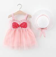 Комплект платье+шляпка розовый 4074, фото 1