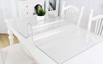 Силиконовая скатерть Мягкое стекло Soft Glass Покрытие для мебели 2.5х1.4м (толщина 0.4мм) Прозрачная