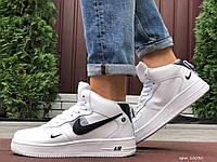 Чоловічі шкіряні зимові кросівки Nike Air Force білі з чорним, фото 1
