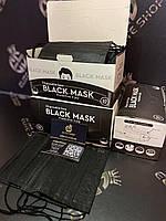Защитные маски трехслойные 50шт в чёрном цвете