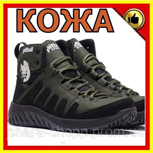 Мужские зимние кожаные ботинки Pitbull Olive   Мужские зимние ботинки Черевики зимові