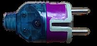 Вилка пряма з/з 16а 250V ударостійка ФІОЛЕТОВА+СИНЯ