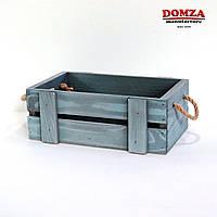 Ящик деревянный с ручками из веревки и вертикальными рейками серый, 25х15х10 см