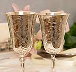 Два высоких посеребренных бокала, серебрение по латуни, Англия, ручная гравировка, фото 2