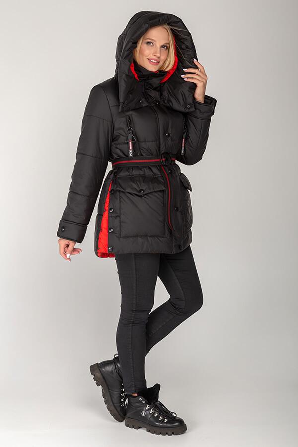 Зимова жіноча батальна куртка з капюшоном 46,48,50 52 54 56 розмір Чорний