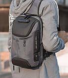 Однолямочный рюкзак Bange BG-7082 кодовый замок 9л серый, фото 8