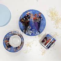 Подарунковий набір дитячого посуду Frozen зі скла для дівчаток