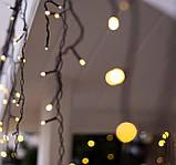 Электрическая гирлянда Штора Дождик конус 180 LED 5 м * 0.6 м, теплый белый, фото 3