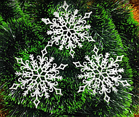 Снежинка - белая с блестками, дм 15,5 см пластик (упаковка 10 шт) №4, фото 1