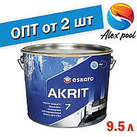 Eskaro Akrit 7 9,5 л - Миється шовково-матова фарба для стін Біла - Шелковоматовая акрилатна фарба