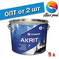 Eskaro Akrit 7 TR 9 л Миється шовково-матова фарба для стін Безбарвна - Шелковоматовая акрилатна фарби