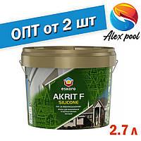 Eskaro Akrit F Silicоne Біла 2,7 л фарба для мінеральних і обштукатурених фасадів Фасадна акрилова фарба