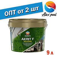 Eskaro Akrit F Silicоne Біла 9 л фарба для мінеральних і обштукатурених фасадів Фасадна акрилова фарба