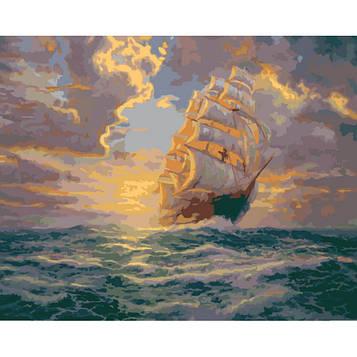 Картина по номерам 40×50 см. Идейка (без коробки) Рассвет под парусами (КНО 2715)