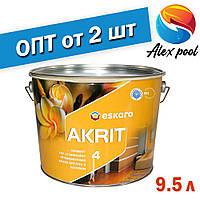 Eskaro Akrit 4 Біла 9,5 л Фарба для стель і стін в приміщеннях з нормальними експлуатаційними вимогами
