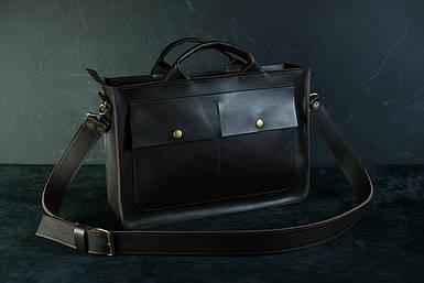 Шкіряна чоловіча сумка Дієго, натуральна шкіра італійський Краст колір коричневий, відтінок Кава