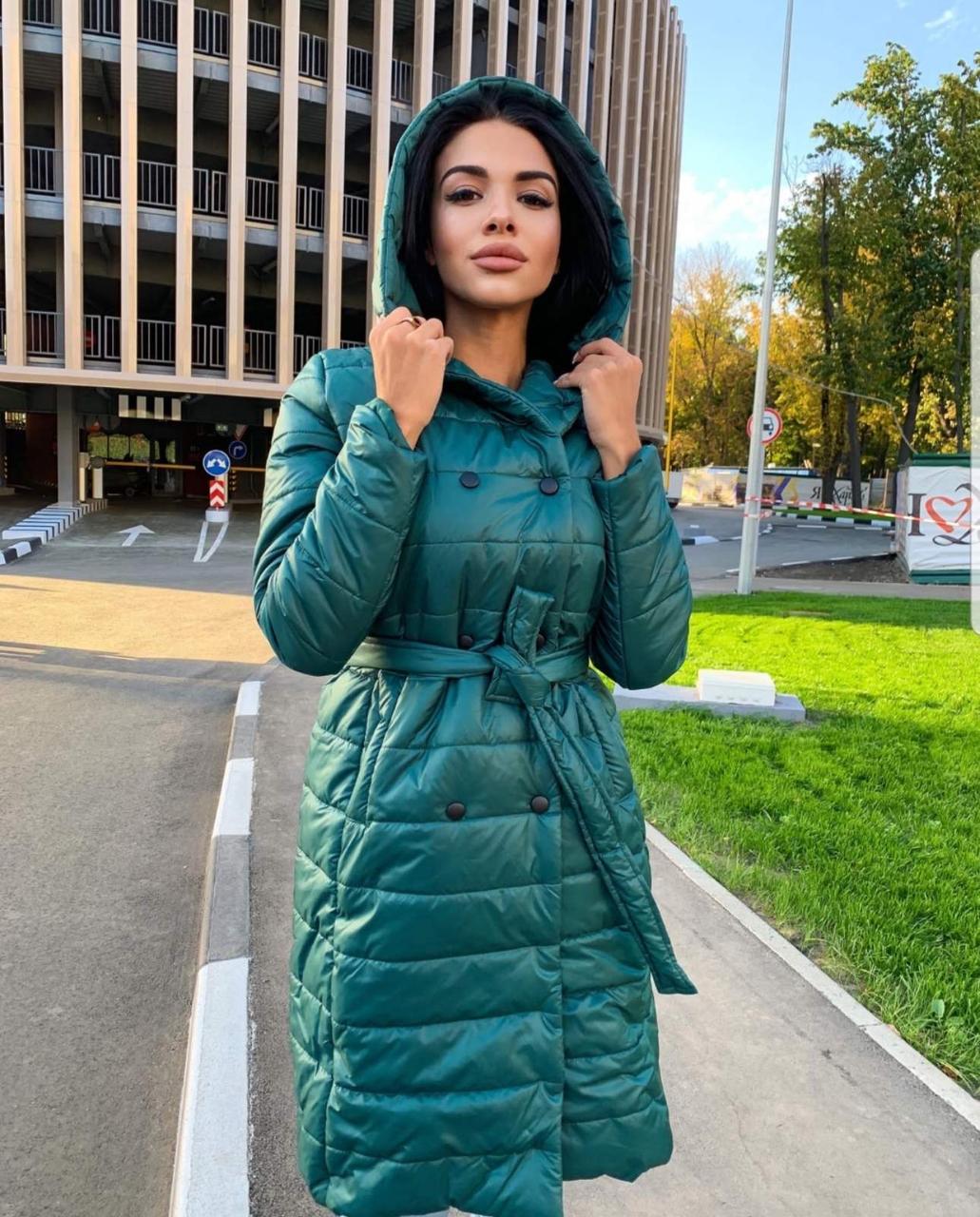Куртка-пальто стеганая  из плащевки  на силиконе 200, два цвета