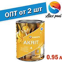 Eskaro Akrit 4 Біла 0,95 л Фарба для стель і стін в приміщеннях з нормальними експлуатаційними вимогами