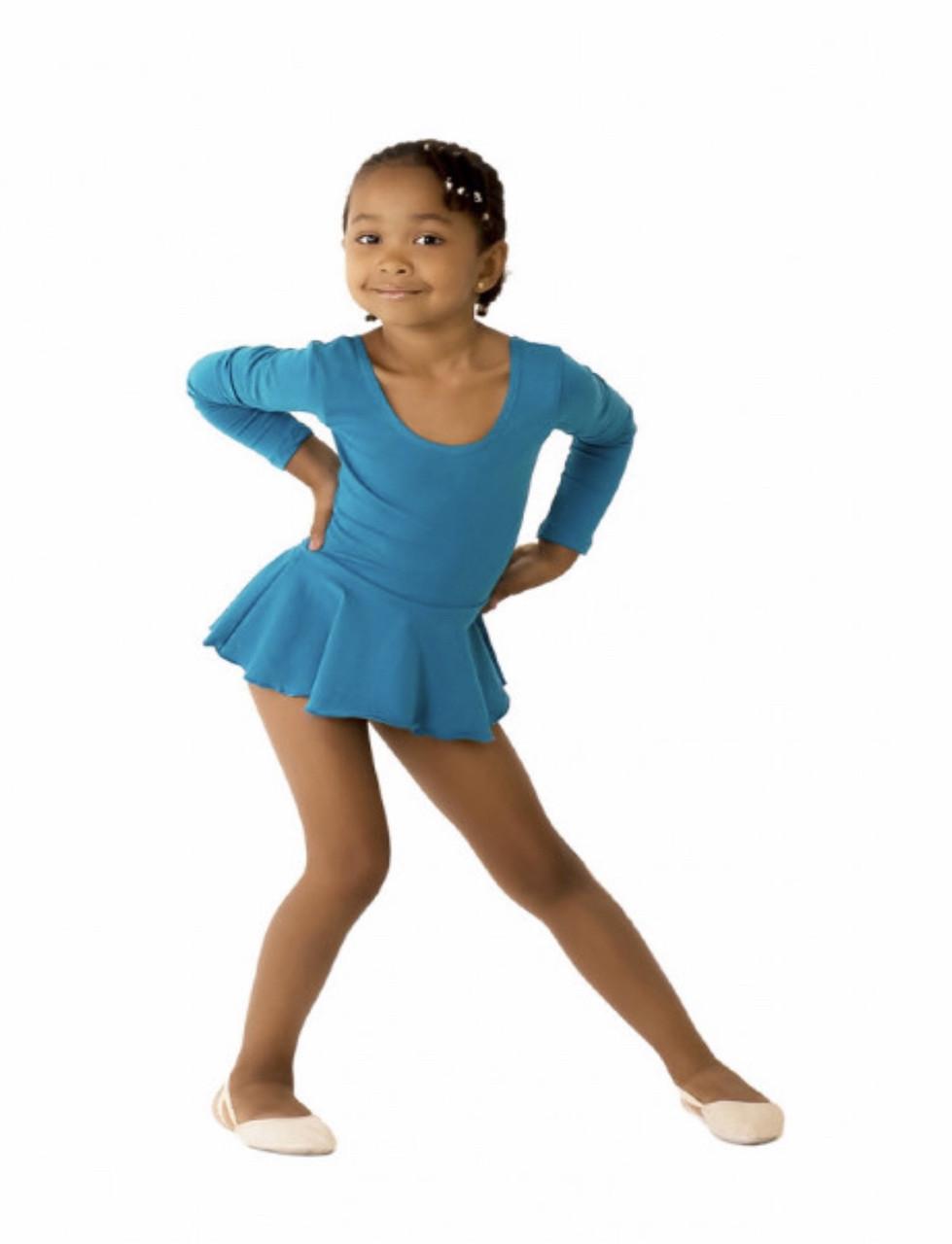 Боди купальник  с юбкой хлопок для танцев , балета,гимнастики голубой