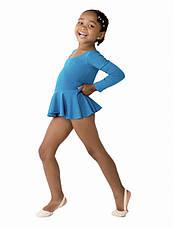Боди купальник  с юбкой хлопок для танцев , балета,гимнастики голубой, фото 2
