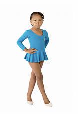 Боди купальник  с юбкой хлопок для танцев , балета,гимнастики голубой, фото 3