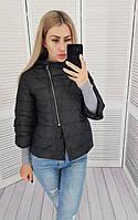 Куртка с косой молнией осень - весна чёрная матовая / черного цвета М524