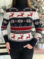 Женский свитер новогодний с оленями и снежинками, фото 1