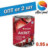 Eskaro Akrit 12 Біла 0,95 л - зносостійка Фарба, що миється, напівматова фарба для стін, вологе прибирання