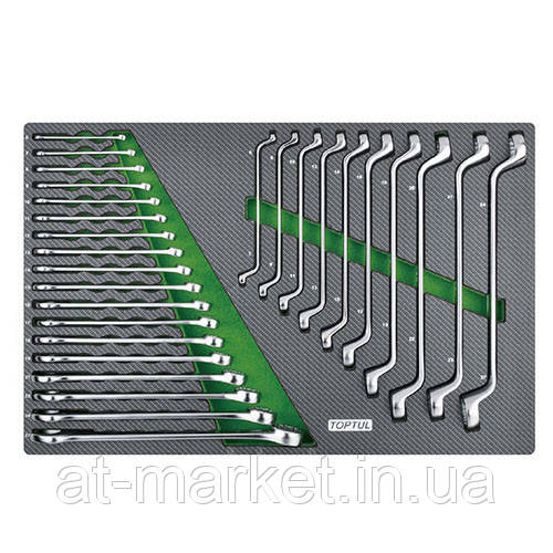 Набор ключей комбинированных и накидных 6-27мм 28ед.(в ложементе) TOPTUL GED2813