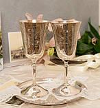 Два высоких посеребренных бокала, серебрение по латуни, Англия, ручная гравировка, фото 5