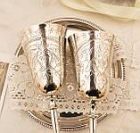 Два высоких посеребренных бокала, серебрение по латуни, Англия, ручная гравировка, фото 6