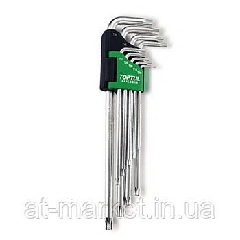 Г-образные ключи TORX TOPTUL T10-T50 9ед. супердлинные с отверстием GAAL0915